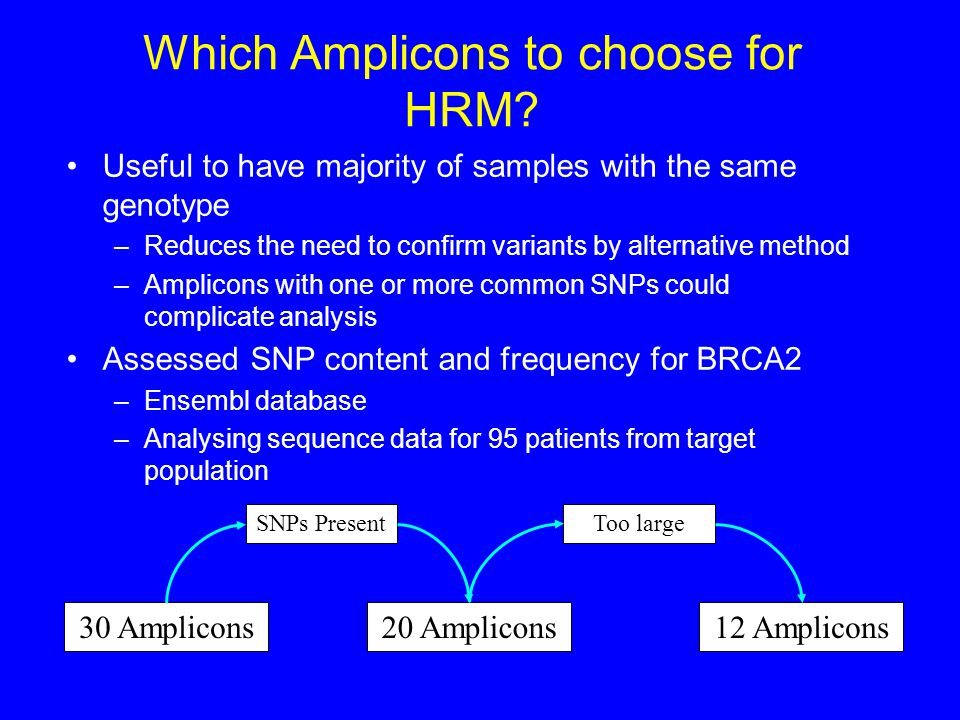 Which Amplicons to choose for HRM? Useful to have majority of samples with the same genotype –Reduces the need to confirm variants by alternative meth