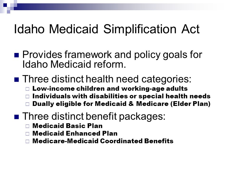 Idaho Medicaid Simplification Act Provides framework and policy goals for Idaho Medicaid reform.