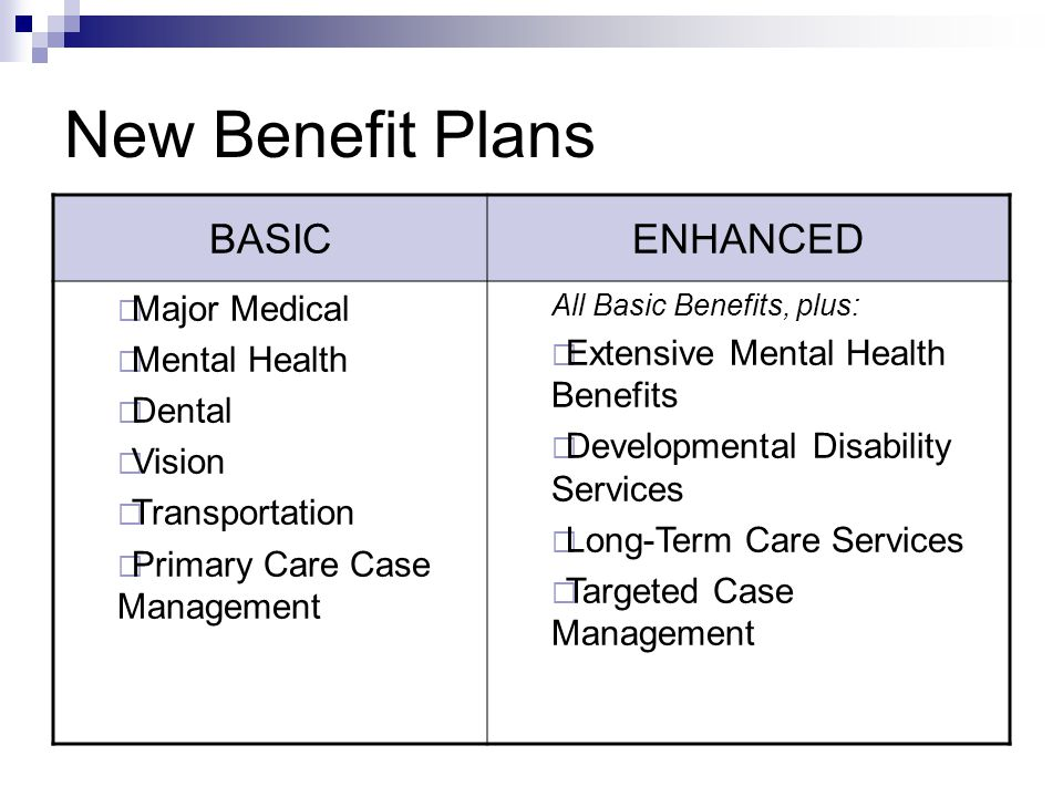 New Benefit Plans BASICENHANCED  Major Medical  Mental Health  Dental  Vision  Transportation  Primary Care Case Management All Basic Benefits,