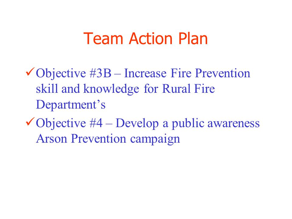 Team Action Plan Objective # 5 – Inform the hunting and sporting public of fire safety requirements and restrictions Other Assignments: –Develop a Hunter Fire Safety program –Develop a Scouting Fire Safety program –Complete field reviews of Sun Valley