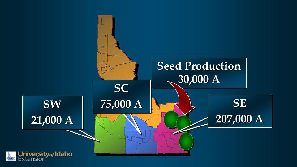 Seed Production 30,000 A Seed Production 30,000 A SW 21,000 A SW SE 207,000 A SE SC 75,000 A SC