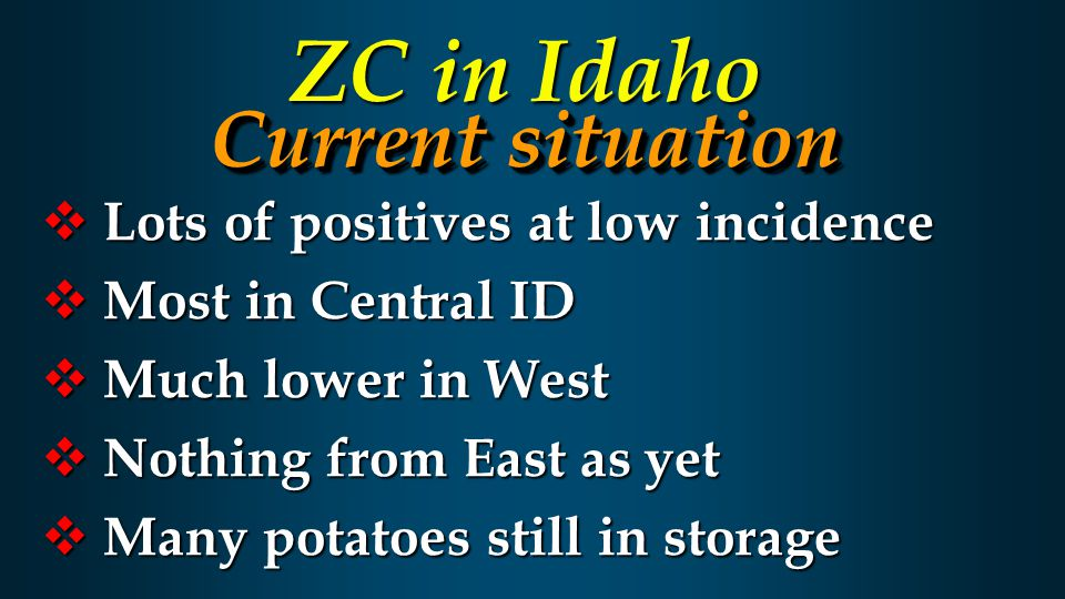  Lots of positives at low incidence  Most in Central ID  Much lower in West  Nothing from East as yet  Many potatoes still in storage Current situation ZC in Idaho