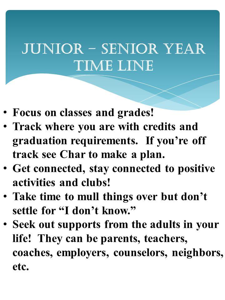 Junior – Senior Year Time Line Focus on classes and grades.