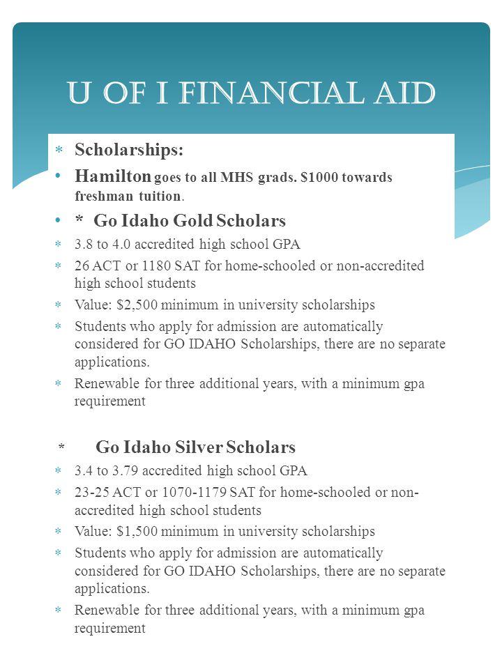  Scholarships: Hamilton goes to all MHS grads. $1000 towards freshman tuition.