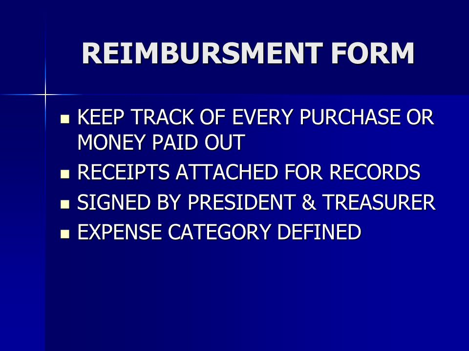 REIMBURSMENT FORM KEEP TRACK OF EVERY PURCHASE OR MONEY PAID OUT KEEP TRACK OF EVERY PURCHASE OR MONEY PAID OUT RECEIPTS ATTACHED FOR RECORDS RECEIPTS