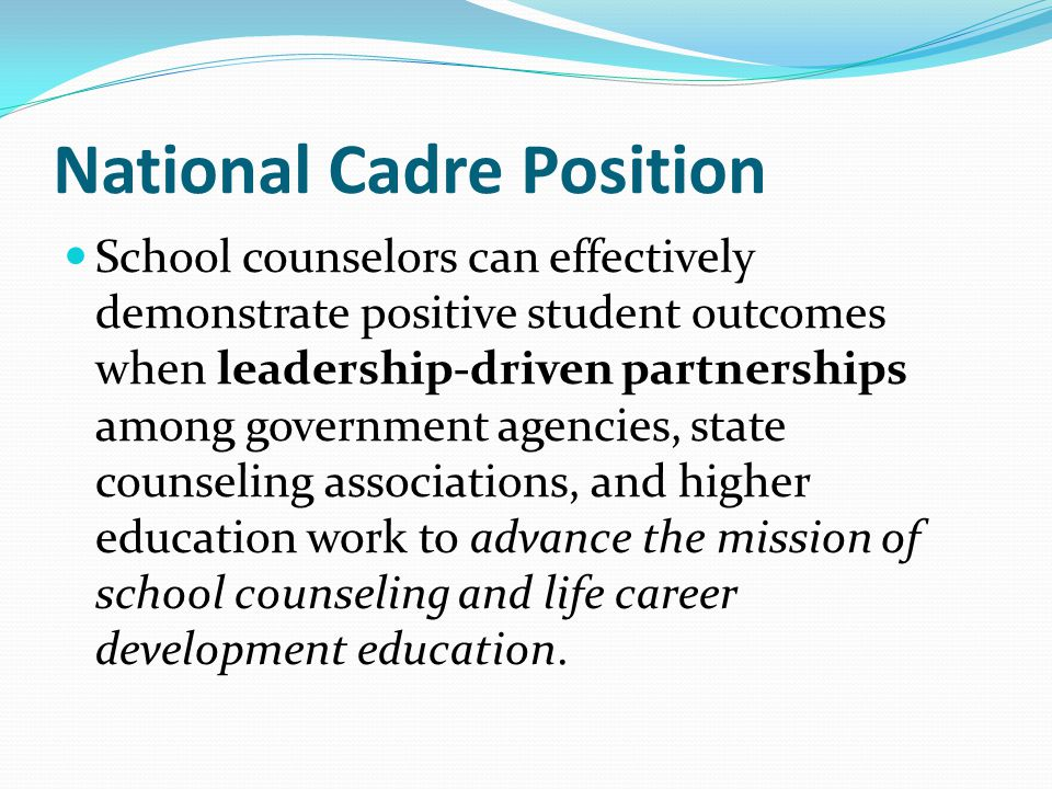 National Cadre Position School counselors can effectively demonstrate positive student outcomes when leadership-driven partnerships among government a
