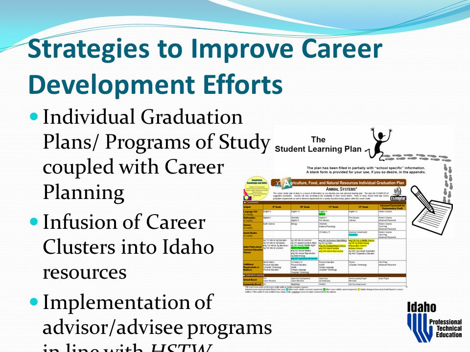 Strategies to Improve Career Development Efforts Individual Graduation Plans/ Programs of Study coupled with Career Planning Infusion of Career Cluste