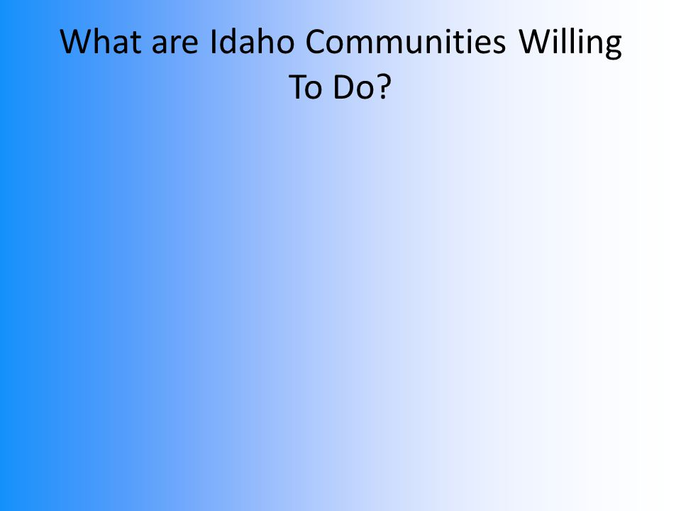 What are Idaho Communities Willing To Do