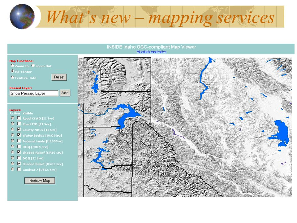 What's new – mapping services