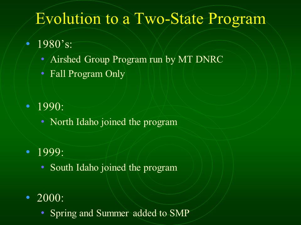 Evolution to a Two-State Program 1980's: Airshed Group Program run by MT DNRC Fall Program Only 1990: North Idaho joined the program 1999: South Idaho