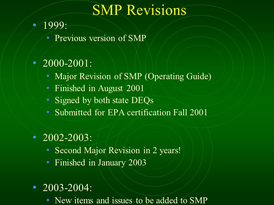 SMP Revisions 1999: Previous version of SMP 2000-2001: Major Revision of SMP (Operating Guide) Finished in August 2001 Signed by both state DEQs Submi