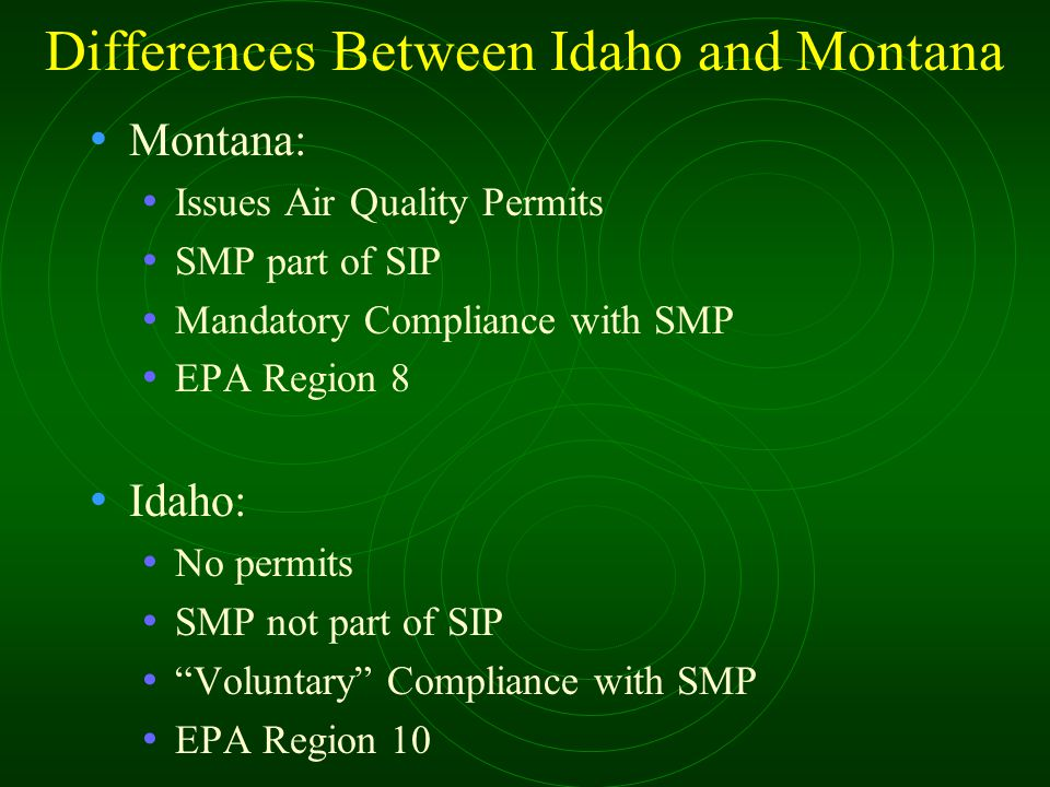 Differences Between Idaho and Montana Montana: Issues Air Quality Permits SMP part of SIP Mandatory Compliance with SMP EPA Region 8 Idaho: No permits