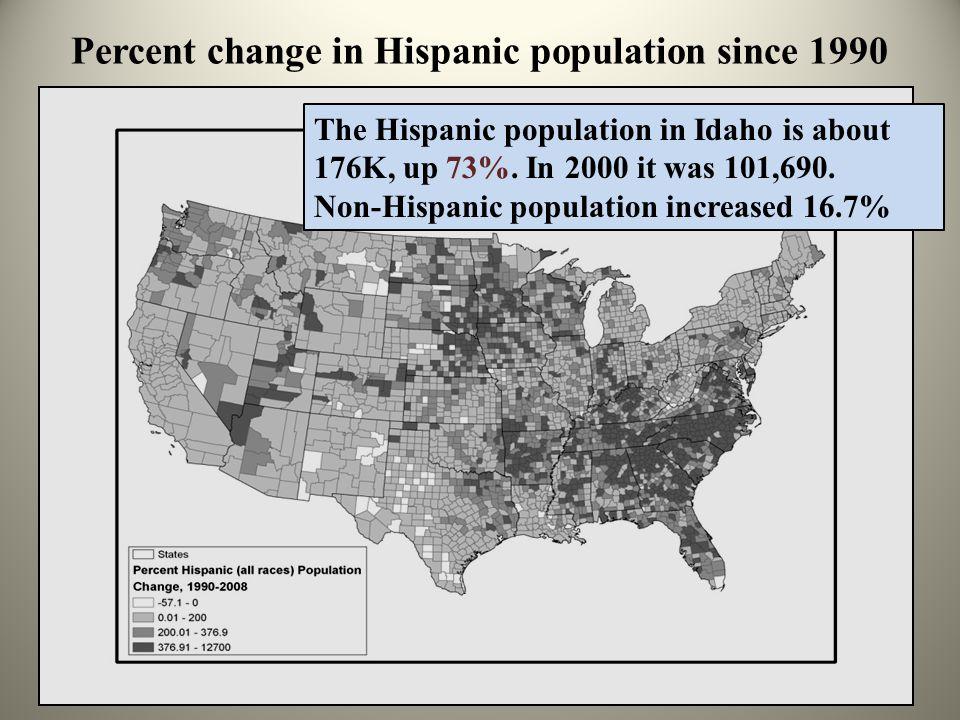 Percent change in Hispanic population since 1990 The Hispanic population in Idaho is about 176K, up 73%.