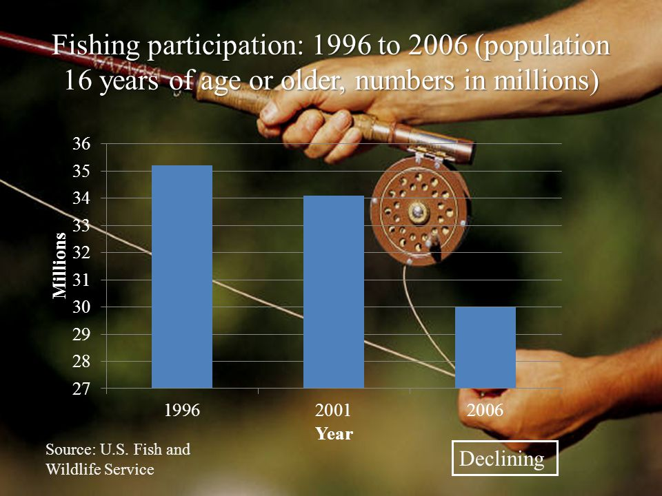 Fishing participation: 1996 to 2006 (population 16 years of age or older, numbers in millions) Source: U.S.