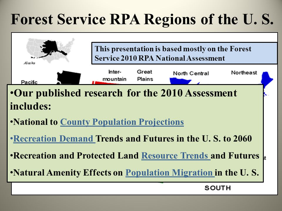 Forest Service RPA Regions of the U. S.