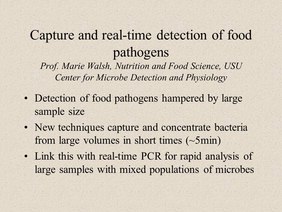 Capture and real-time detection of food pathogens Prof.