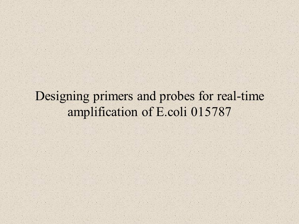 Designing primers and probes for real-time amplification of E.coli 015787