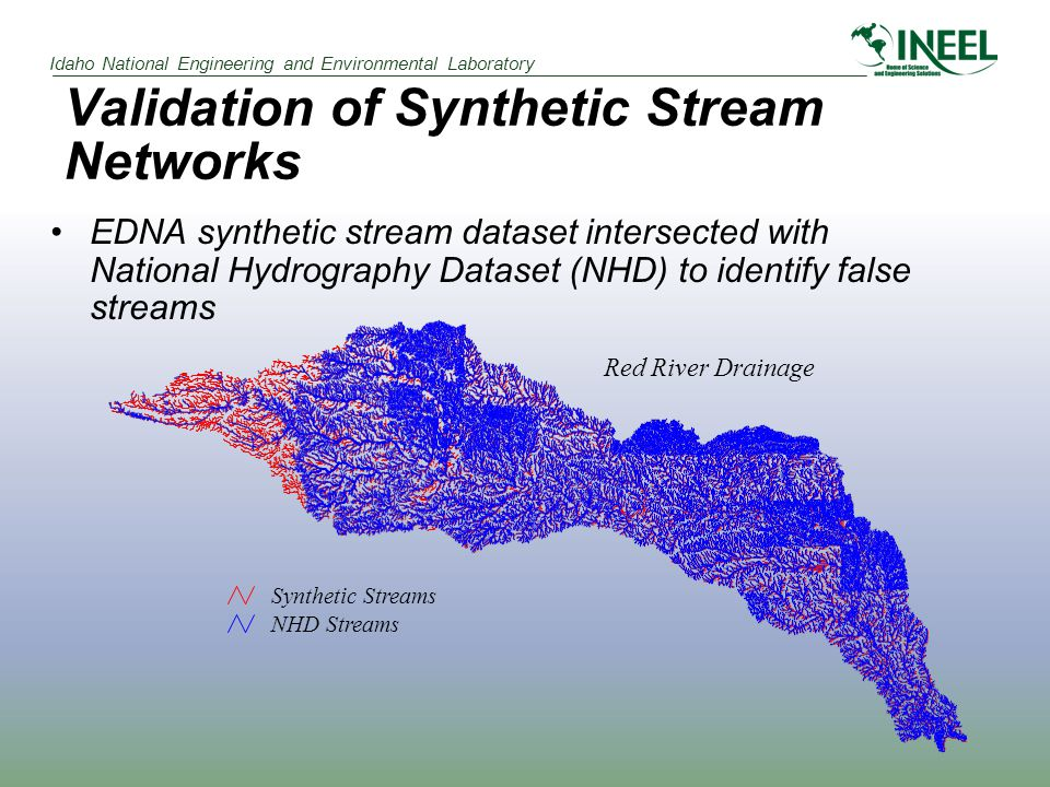 Idaho National Engineering and Environmental Laboratory Validation of Synthetic Stream Networks EDNA synthetic stream dataset intersected with Nationa