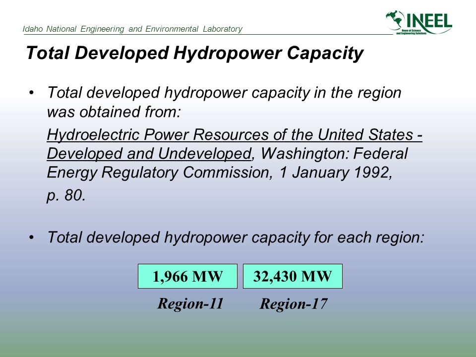 Idaho National Engineering and Environmental Laboratory Total Developed Hydropower Capacity Total developed hydropower capacity in the region was obtained from: Hydroelectric Power Resources of the United States - Developed and Undeveloped, Washington: Federal Energy Regulatory Commission, 1 January 1992, p.