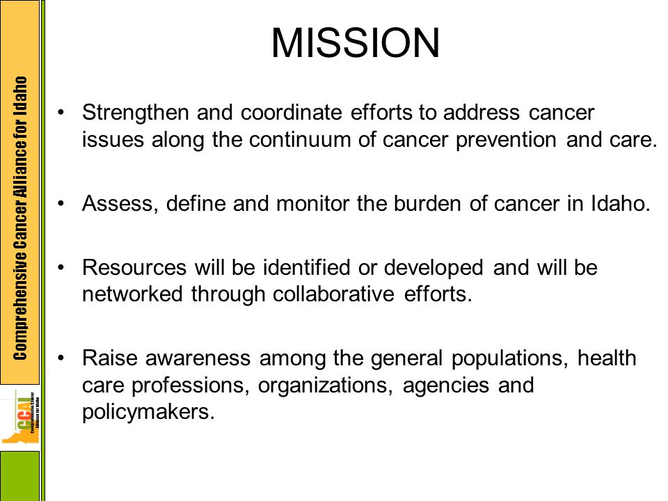 Comprehensive Cancer Alliance for Idaho MISSION Strengthen and coordinate efforts to address cancer issues along the continuum of cancer prevention an