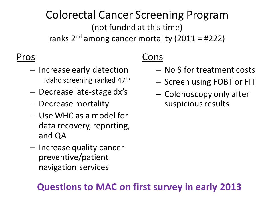 Colorectal Cancer Screening Program (not funded at this time) ranks 2 nd among cancer mortality (2011 = #222) Pros – Increase early detection Idaho sc