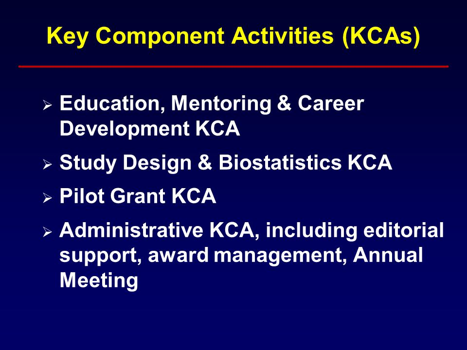 Key Component Activities (KCAs)  Education, Mentoring & Career Development KCA  Study Design & Biostatistics KCA  Pilot Grant KCA  Administrative KCA, including editorial support, award management, Annual Meeting
