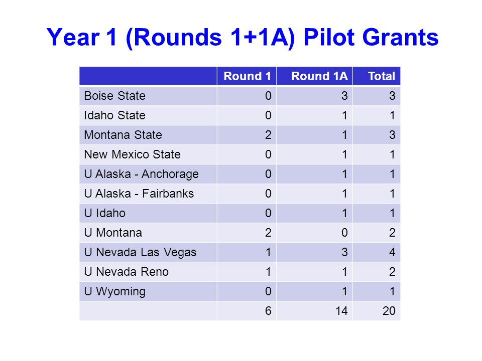 Year 1 (Rounds 1+1A) Pilot Grants Round 1Round 1ATotal Boise State033 Idaho State011 Montana State213 New Mexico State011 U Alaska - Anchorage011 U Alaska - Fairbanks011 U Idaho011 U Montana202 U Nevada Las Vegas134 U Nevada Reno112 U Wyoming011 61420