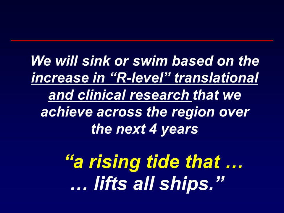 a rising tide that … … lifts all ships. We will sink or swim based on the increase in R-level translational and clinical research that we achieve across the region over the next 4 years
