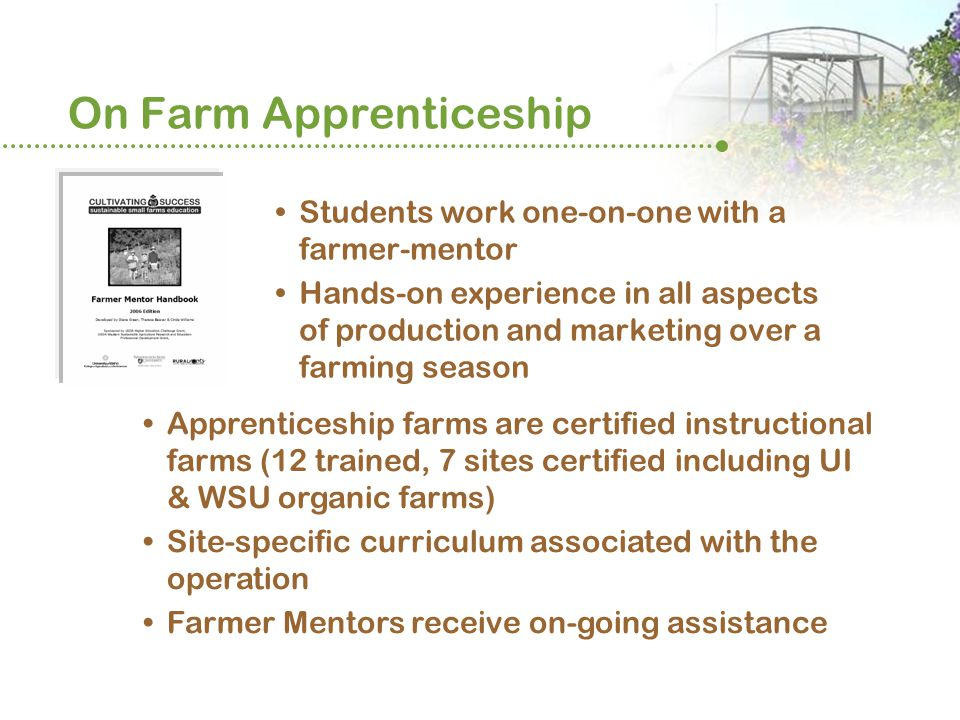 On Farm Apprenticeship Students work one-on-one with a farmer-mentor Hands-on experience in all aspects of production and marketing over a farming season Apprenticeship farms are certified instructional farms (12 trained, 7 sites certified including UI & WSU organic farms) Site-specific curriculum associated with the operation Farmer Mentors receive on-going assistance