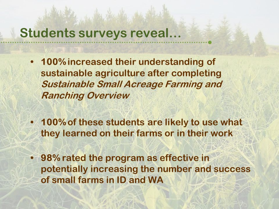Students surveys reveal… 100% increased their understanding of sustainable agriculture after completing Sustainable Small Acreage Farming and Ranching