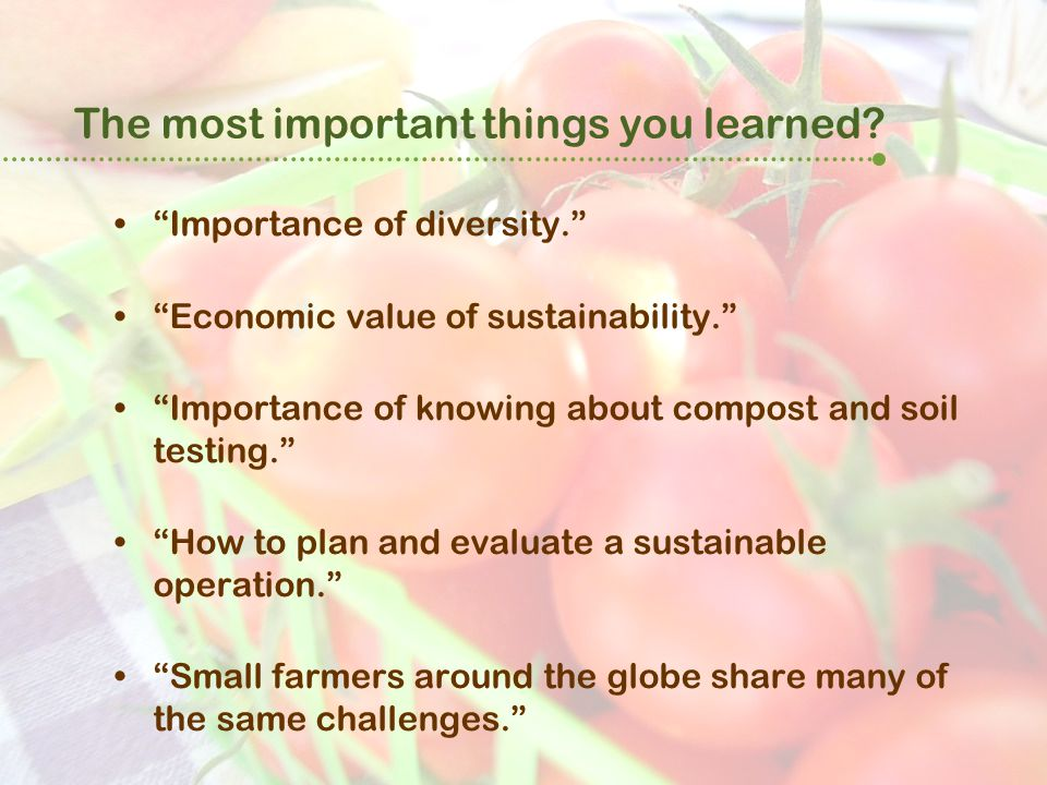 "The most important things you learned? ""Importance of diversity."" ""Economic value of sustainability."" ""Importance of knowing about compost and soil te"