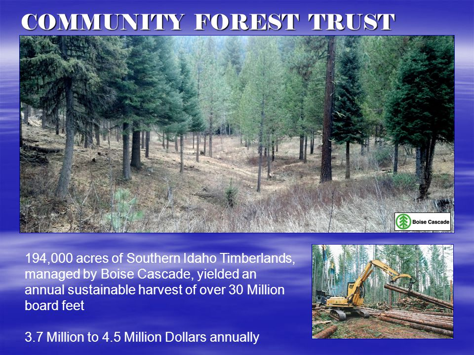 COMMUNITY FOREST TRUST 194,000 acres of Southern Idaho Timberlands, managed by Boise Cascade, yielded an annual sustainable harvest of over 30 Million