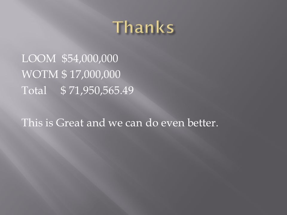 LOOM $54,000,000 WOTM $ 17,000,000 Total $ 71,950,565.49 This is Great and we can do even better.