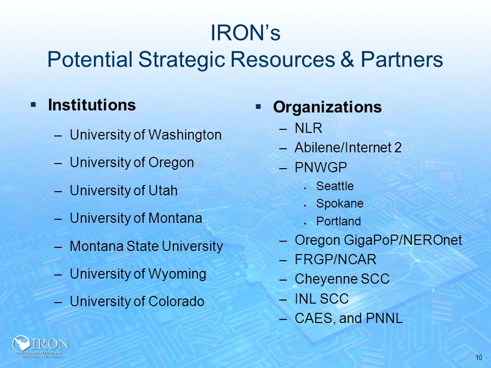 10 IRON's Potential Strategic Resources & Partners  Institutions –University of Washington –University of Oregon –University of Utah –University of Montana –Montana State University –University of Wyoming –University of Colorado  Organizations –NLR –Abilene/Internet 2 –PNWGP  Seattle  Spokane  Portland –Oregon GigaPoP/NEROnet –FRGP/NCAR –Cheyenne SCC –INL SCC –CAES, and PNNL