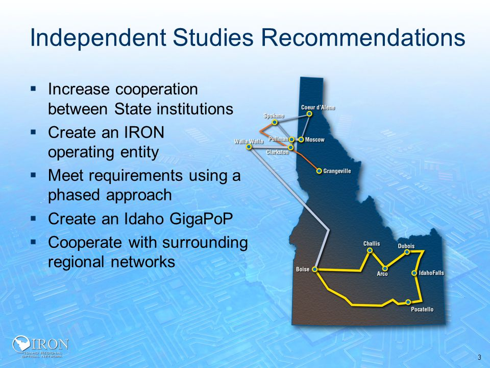 3 Independent Studies Recommendations  Increase cooperation between State institutions  Create an IRON operating entity  Meet requirements using a phased approach  Create an Idaho GigaPoP  Cooperate with surrounding regional networks