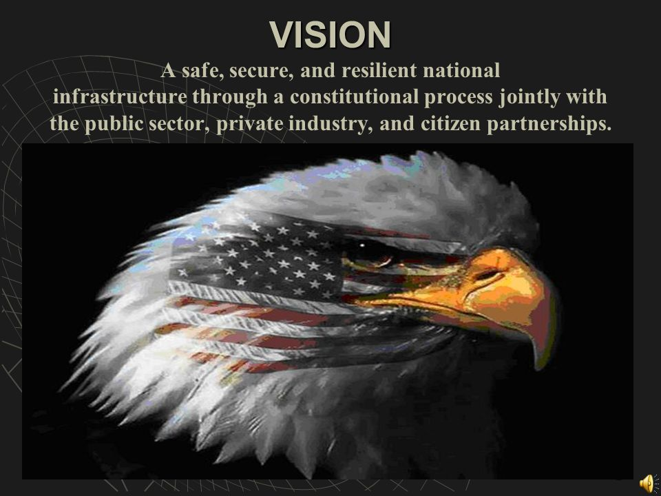 2 VISION A safe, secure, and resilient national infrastructure through a constitutional process jointly with the public sector, private industry, and citizen partnerships.