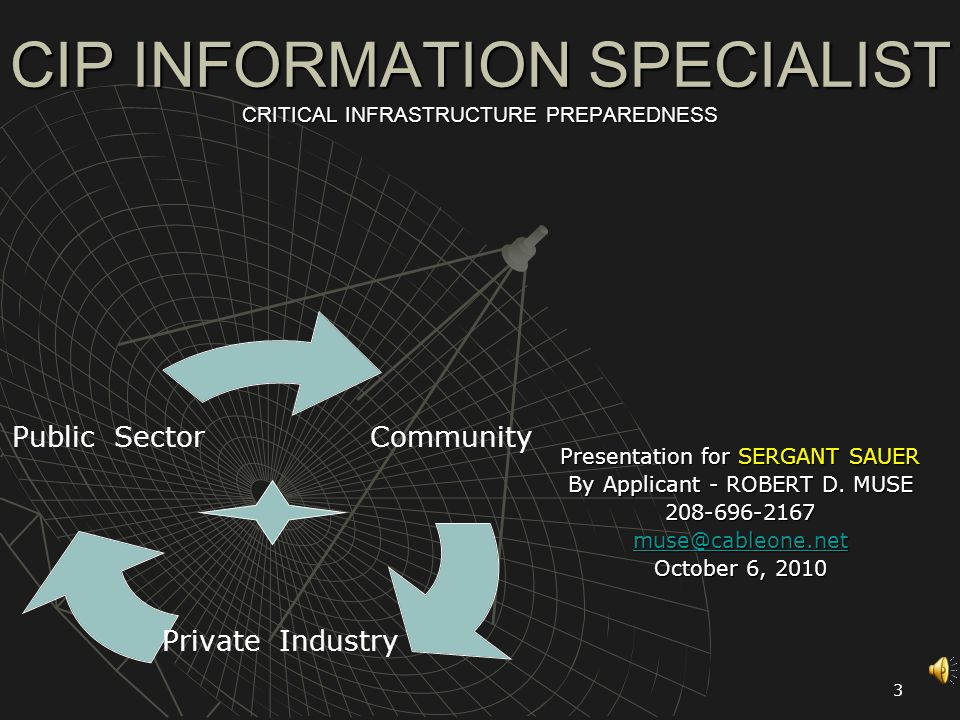 3 CIP INFORMATION SPECIALIST CRITICAL INFRASTRUCTURE PREPAREDNESS Presentation for SERGANT SAUER By Applicant - ROBERT D.