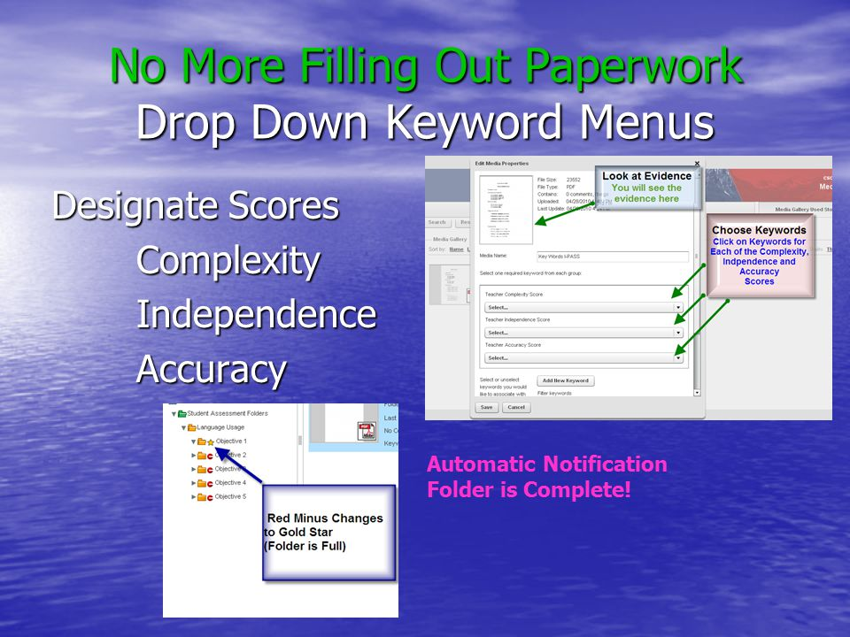 No More Filling Out Paperwork Drop Down Keyword Menus Designate Scores ComplexityIndependenceAccuracy Automatic Notification Folder is Complete!