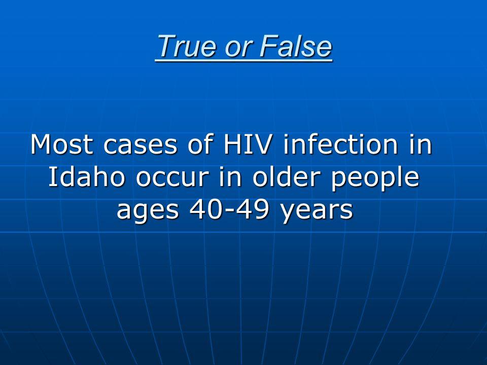 HIV in Idaho – Prevalence (*estimate additional 20-25% undiagnosed) HIV AIDS  District 1 62 75  District 2 33 38  District 3 68 81  District 4 265 223  District 5 54 61  District 6 69 51  District 7 45 40 *Total 596 569 1165 (As of June 30, 2009)