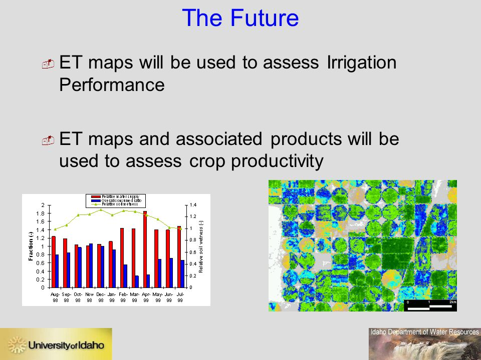 The Future  ET maps will be used to assess Irrigation Performance  ET maps and associated products will be used to assess crop productivity