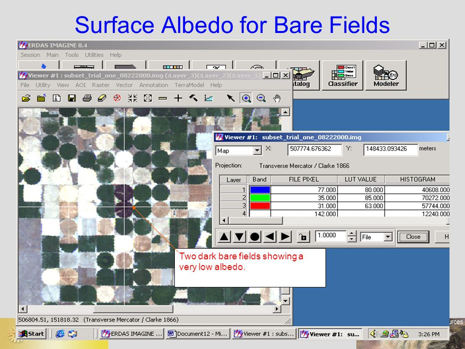 Two dark bare fields showing a very low albedo. Surface Albedo for Bare Fields