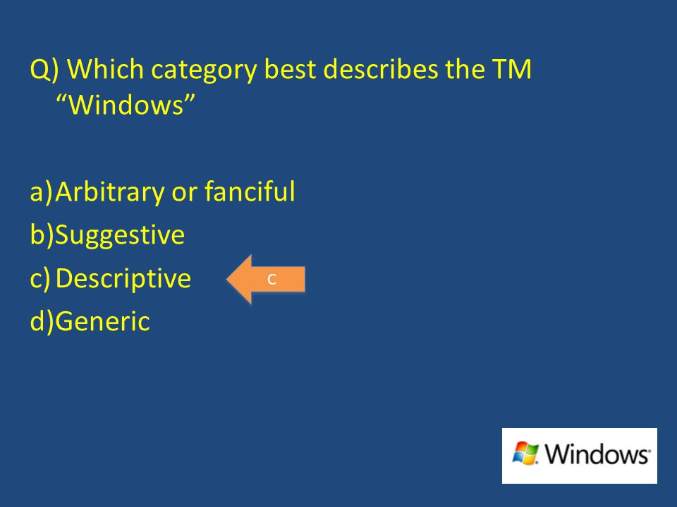 Q) Which category best describes the TM Windows a)Arbitrary or fanciful b)Suggestive c)Descriptive d)Generic C C