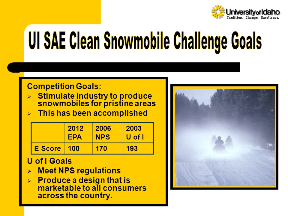 Competition Goals:  Stimulate industry to produce snowmobiles for pristine areas  This has been accomplished U of I Goals  Meet NPS regulations  Produce a design that is marketable to all consumers across the country.