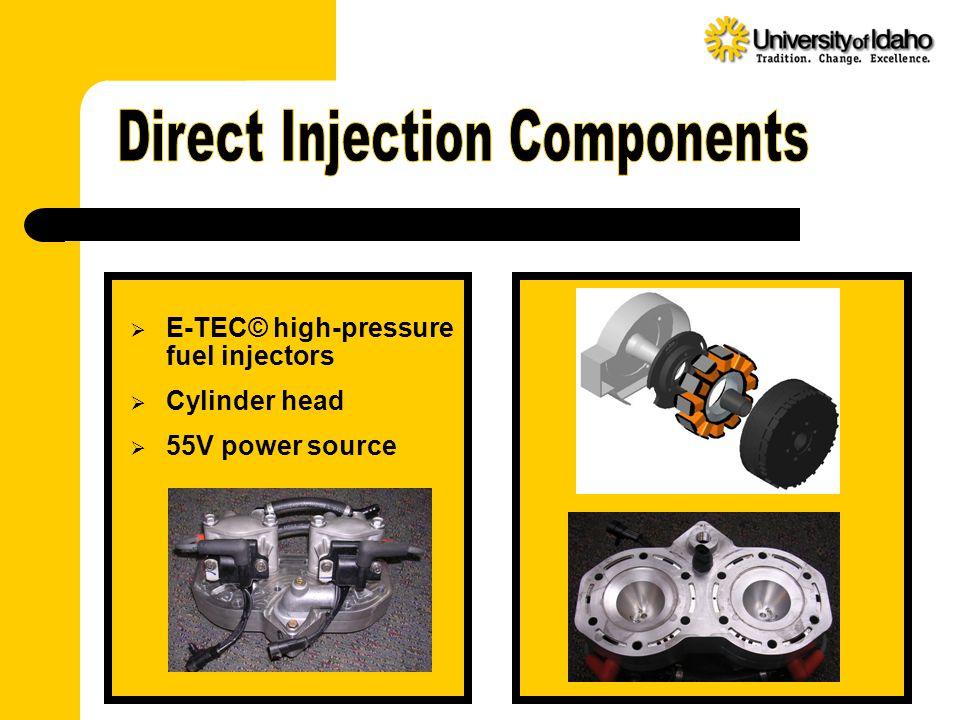 E-TEC© high-pressure fuel injectors  Cylinder head  55V power source