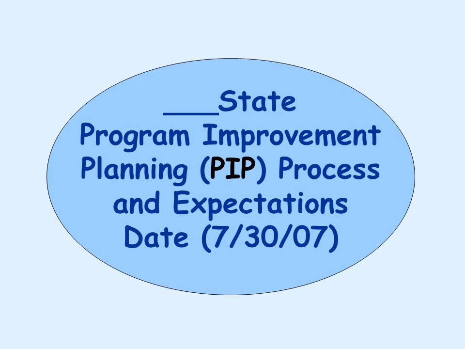 ___State Program Improvement Planning (PIP) Process and Expectations Date (7/30/07)