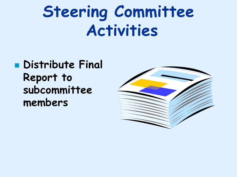 Steering Committee Activities n Distribute Final Report to subcommittee members