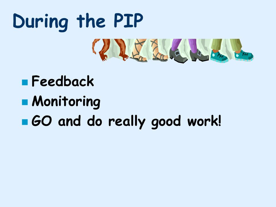 During the PIP n Feedback n Monitoring n GO and do really good work!