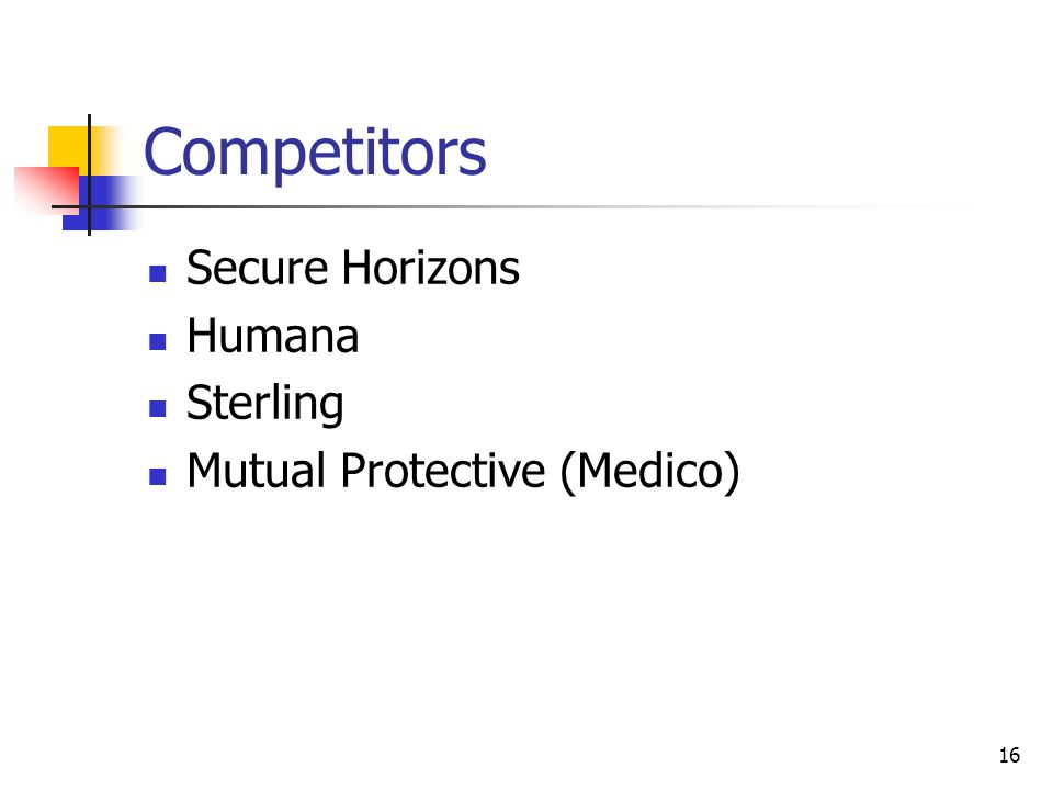 16 Competitors Secure Horizons Humana Sterling Mutual Protective (Medico)