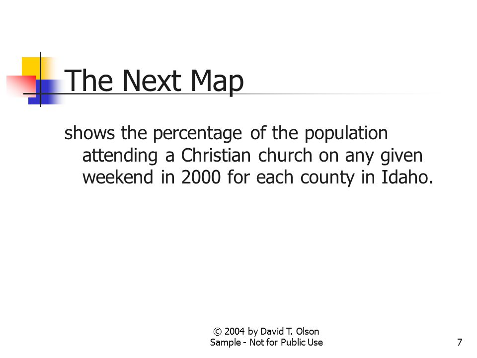 7 The Next Map shows the percentage of the population attending a Christian church on any given weekend in 2000 for each county in Idaho.
