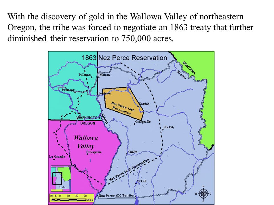 With the discovery of gold in the Wallowa Valley of northeastern Oregon, the tribe was forced to negotiate an 1863 treaty that further diminished their reservation to 750,000 acres.